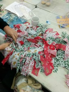 Recycled fabric wreath making